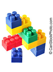 Meccano - Colorful blocks isolated over the white background