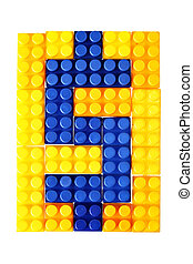 Dollar sign made from building block of meccano isolated...