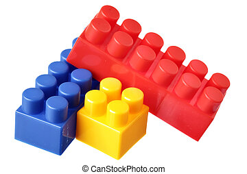 Meccano bloks - Colorful blocks isolated over the white...