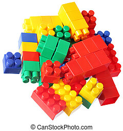 Colorful blocks of meccano - Colorful blocks isolated over...
