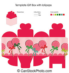Template for gift box - Design with lollipops candy for...