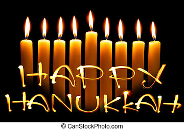 Happy Hanukkah - Created by light text Happy Hanukkah and...