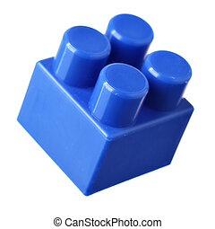 Blue block of meccano isolated over the white background