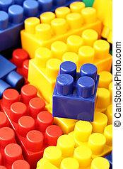 Meccano - Colorful building blocks of meccano close up