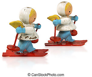 Angels with Skis - Two wooden and vintage small figurines of...