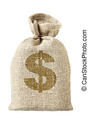 Money-bag with dollar symbol isolated over the white...