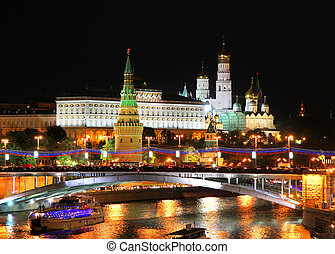 Moscow Kremlin - Night view of Moscow Kremlin in Russia