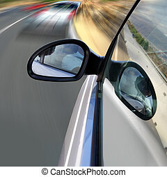 Speed - Car driving fast on  road with high speed