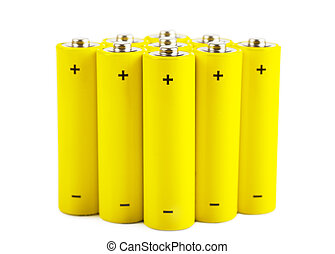 Batteries - Yellow batteries isolated over white background