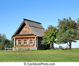 Old wooden house near a mountain ash tree