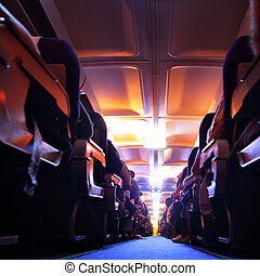 Night flying - Abstract interior of airplane at night flying