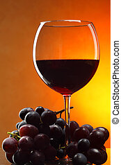 Red wine - Still life with bunch of grapes and red wine