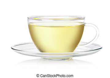 fresh green tea - Cup of tea on a white background