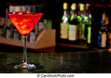 cosmopolitan cocktail on the background of the bar