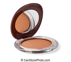 Makeup Powder and Brush - Makeup Powder on a white...