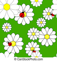 Vector seamless pattern with camomiles - Vector illustration...