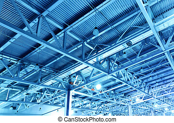 Warehouse - Ceiling of storehouse toned in the blue color
