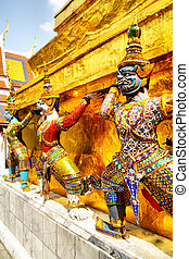 Wat Phra Kaeo - Demons statues at the temple Wat Phra Kaeo...