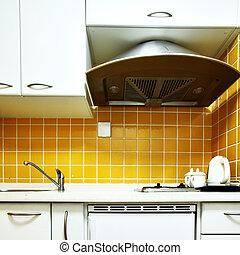 Kitchen - Modern kitchen interior with yellow walls