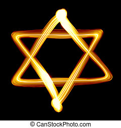 Star of David created by light close-up
