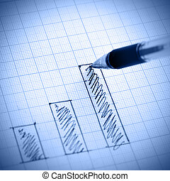 Profit bar chart - Pen drawing profit bar chart Shallow DOF...