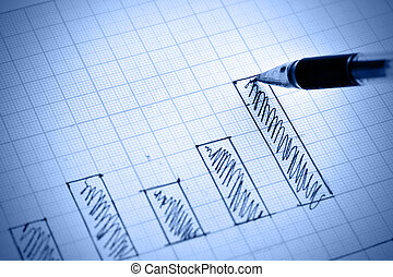 Bar chart - Pen drawing profit bar chart Shallow DOF