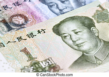 Chinese yuan renminbi RMB banknotes close up