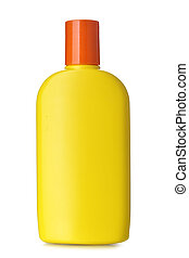 Bottle of sunscreen isolated over the white background