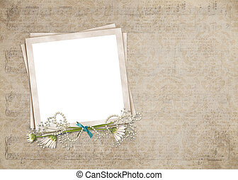 vintage snapshot frame with daisies