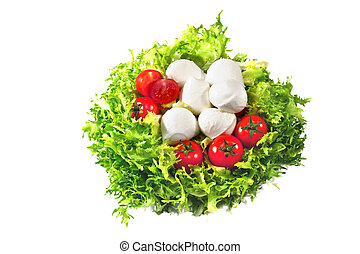 salad with tomatoes and mozzarella isolated