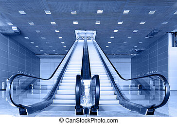 Escalator - Perspective of escalator toned in blue color
