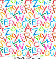 Crayon letters seamless - Seamless pattern - Crayon letters...