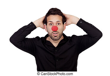 Astonished businessman with clown nose isolated on white...