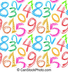 Crayon numbers seamless - Seamless pattern - Crayon numbers...