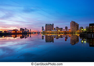 panoramic view of salford qua - Skyline of Salford Quays...