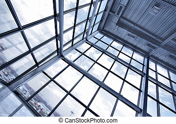 Large window of industrial building close up