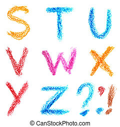 Crayon alphabet, Lettrs S - Z - Crayon alphabet isolated...