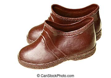 Galoshes - Childrens galoshes isolated over the white...