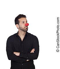 jeune, homme affaires, clown, nez