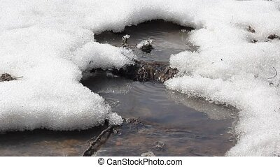 Spring snow melting on the river, i