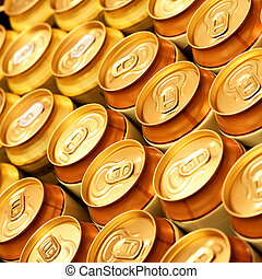 Beer cans - Much of gold beer cans close up