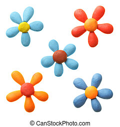 Plasticine flowers isolated over the white background