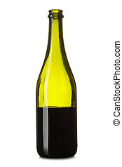 Half bottle of red wine isolated over white background