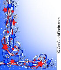 patriótico, frontera, estrellas, rayas