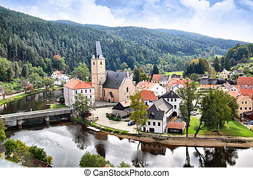 Rosenberg - View out of Rosenberg castle to small old town,...