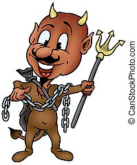 Brown Devil with Trident - colored cartoon illustration