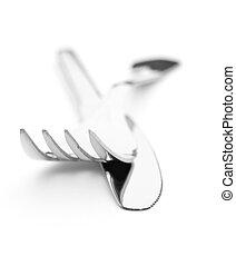 plata, cubiertos, equipo, tenedor, cuchillo, blanco, Plano...
