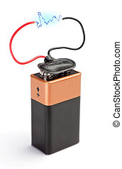 The battery is a accumulator with a blue lightning...