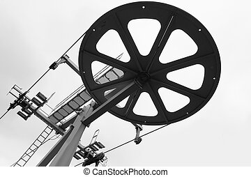 Wheel of funicular.  Black and white image