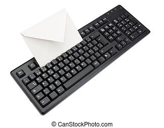 Computer keyboard with an envelope for mail inside. Isolated on white.